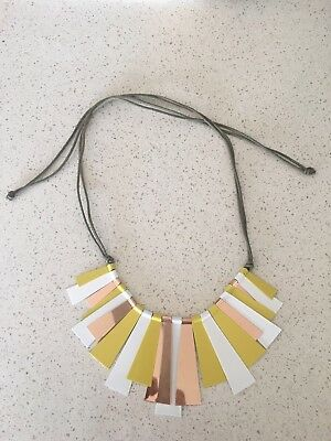 Sportsgirl Rose Gold Lime Yellow White  Necklace Adjustable