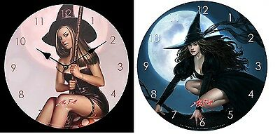 Pink Witch & Rowan Witch Picture Wall Clocks by Aly Fell !FREE UK P&P!
