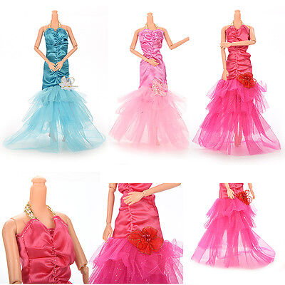 Party Doll Dress Fishtail Skirt With Flower Clothes Gown For Barbie Kid GTAU