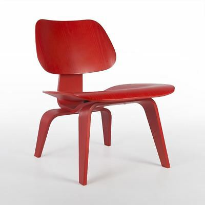 Red Herman Miller Original Authentic Eames LCW Wooden Lounge Chair