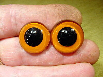 a pair vintage solid Glass Eyes size 19 mm teady bear taxidermy age 1910 Art  A3