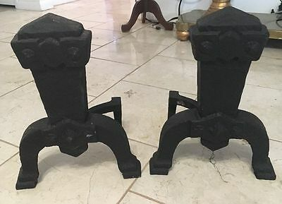 Vintage Unique Mission Arts & Crafts cast iron andirons