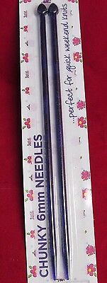 1 PAIR OF CHUNKY 6mm PLASTIC KNITTING NEEDLES~PURPLE~26cm LONG