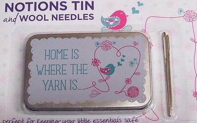2x LARGE EYE WOOL NEEDLES AND METAL NOTIONS TIN ~NEEDLE TIN~ STORAGE~