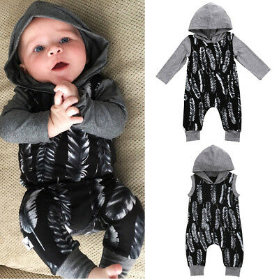 Newborn Kids Baby Boys Feather Hooded Romper Jumpsuit Playsuit Outfit Clothes