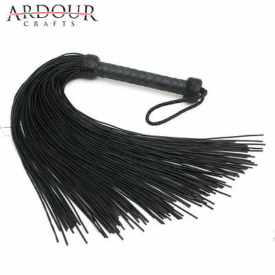 Genuine Black Cow Hide Thick Leather Laces Flogger 100 Tails Heavy Leather Whip