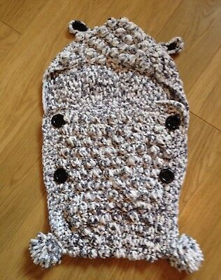 Knitted Pram Cosytoes Cocoon Style Newborn Black White & Grey