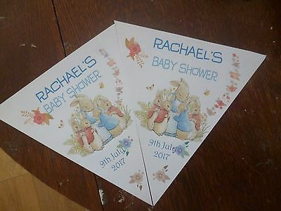 Personalised Peter Rabbit Baby Shower, Christening Party Bunting /banner