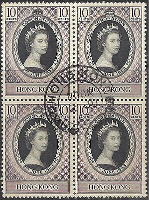 Hong Kong 1953 10c CORONATION Fine Used BLOCK 4, SG 177 (SEE SCAN) lot1