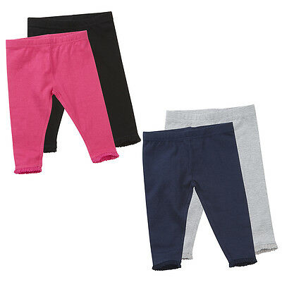 Baby Girls Infants 2 Pack Plain Cotton Leggings Age Size 0 months - 24 / 2 yr
