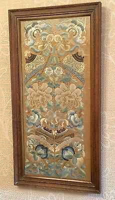 Antique Chinese Silk Embroidery Forbidden Stitch Gold Thread Sleeve Bands Framed