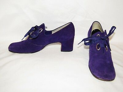 Vintage 60's 70's MISS AMERICA Mod Hippie Purple Suede Lace Up Shoes - Size 7 AA