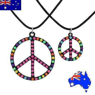 Peace Sign Hippie Rainbow Colourful Bead Gay Pride Boho Pendant Necklace Gift