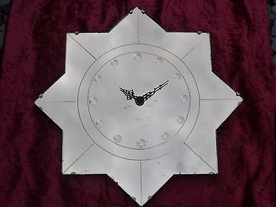 Art Deco 1930's Wall Clock - Rare Peach Mirrored Star Shape Wall Clock