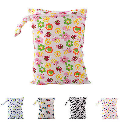 Baby Protable Nappy Washable Nappy Wet Dry Cloth Zipper Waterproof Diaper Bag FO
