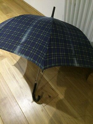 Vintage Gentlemen's Umbrella-Tartan Effect, Blues / Green- Black handle, Retro,