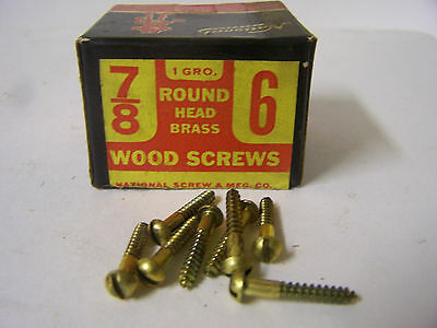 """#6 x 7/8"""" Round Head Brass Wood Screws Slotted Solid Brass Made in USA  Qty.144"""