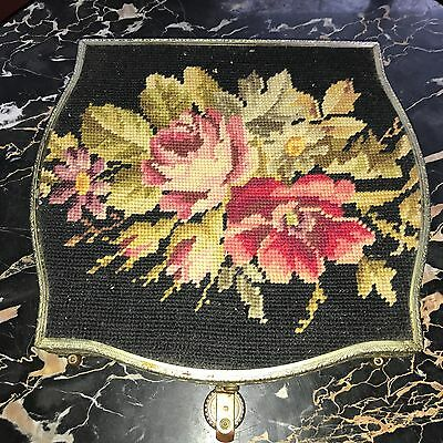 Pretty Antique Vintage rose Floral NEEDLEPOINT  Needlepoint Box Purse