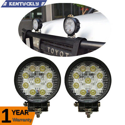 2X 27W Cree LED Work Light Bar Flood Beam Offroad Driving Spot Lamp Truck Boat