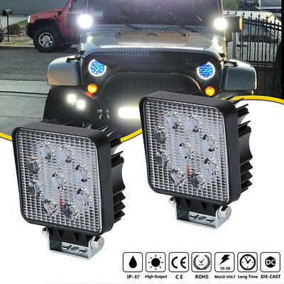 Pair 5INCH 27W CREE LED WORK LIGHT BAR SPOT BEAM DRIVING JEEP TRUCK SUV ATV UTE