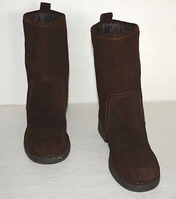 Born Brown Leather/suede Mid Calf Pull On Boots Women Sz 7.5 M *euc*