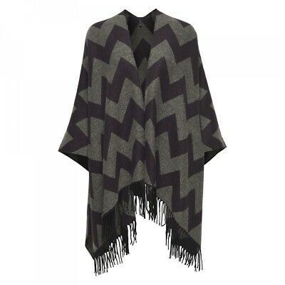 Poncho OnlAdette Weaved Black Pattern - Only
