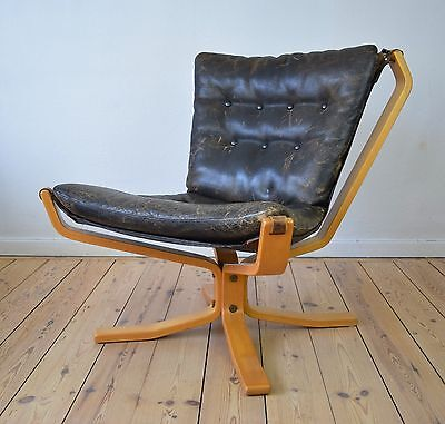 Falcon Chair With Buffalo Leather By Sigurd Resell. 1970's.