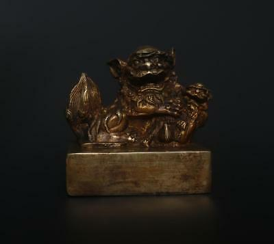 Very Fine Antique Chinese Carved Bronze Seal Stamp-kylin t57