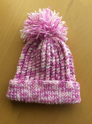 Pink Baby's Hand Knitted Bobble Hat, 0-3mths, new