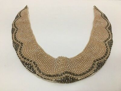 Vintage Sweater Collar Beaded Pearl Sequin Round Collar MCM Deco Glamour Fashion
