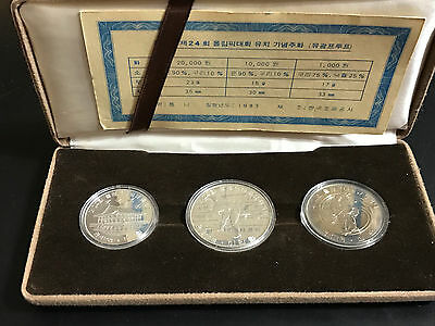 1983 South Korea - Awarding 24Th Olympic Games 3 Coin Proof Set