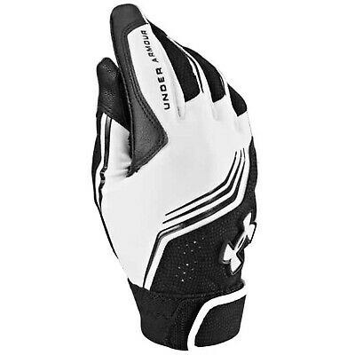 Under Armour Boys Cleanup Batting Glove Display White Black Youth Small