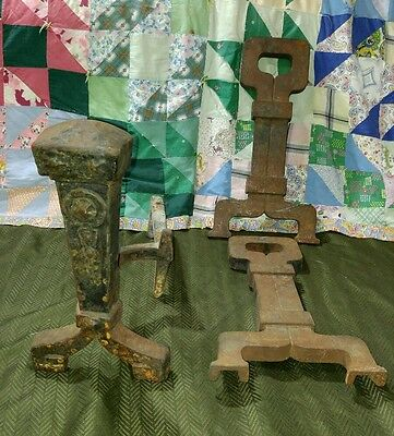 3 Vintage Primitive Antique 1 Set Plus Cast Iron Metal Andiron Fire Place Stand