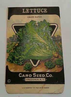 1930-40's Litho antique vintage Lettuce grand rapids seed packet Card Seed Co.