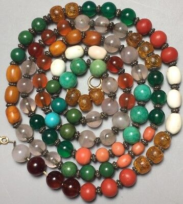 Chinese Multi Gem Stone Bead Necklace Amber Coral Jade