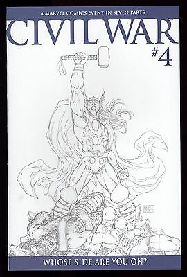 Civil War (2006) #4 1st Print Michael Turner 1 in 75 B&W Sketch Variant Cover NM