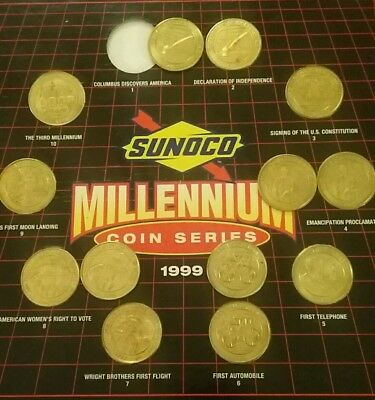 14 Pc Lot Sunoco Gas Collectible Coin Series Set Us Firsts Millennium 1999 Board