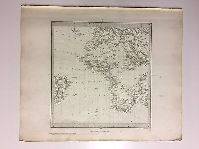 Vintage Original 1845 Topographic Map Of 'Africa & South Europe'
