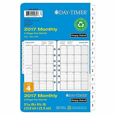 Day-Timer Monthly Planner Calendar Refill 2017, Two Page Per Month, Loose Leaf,