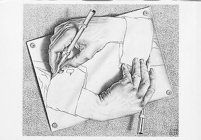 M.C. Escher postcard  drawing hands 1948