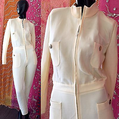 Vintage 80s Escada Margaretha Ley Jumpsuit Bodycon Ivory Wool Party Jumpsuit