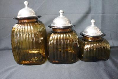 Artland Set/3 Canisters With Metal Lids, Amber