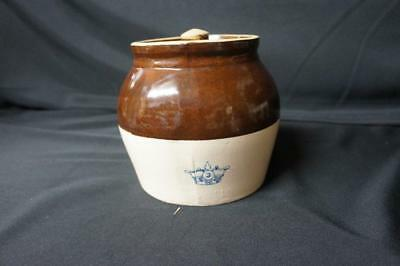 Robinson Ransbottom Vintage Stoneware Blue Crown #3 Crock Bean Pot With Lid