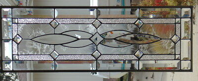 Stained Glass window Transom  hanging 28 1/2  x 9 1/2