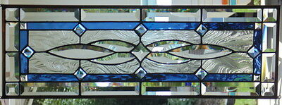 Stained Glass window Transom  hanging 28 x 9 1/2