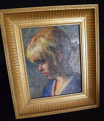 Framed Mid Century Portrait Young Girl Indistinct Signature