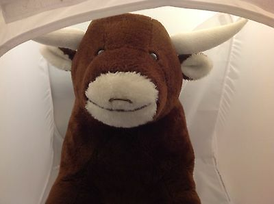 Adorable Anatomically Correct 'Fixed' Large Stuffed Plush Brown & White Bull