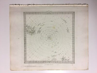 Vintage Original 1845 Topographic Map Of 'South Pole To 45 Degrees S.Latitude'