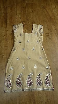 cream 10-12 punjabi tunic top ethnic kameez kaftan top kurti bollywood TU13450