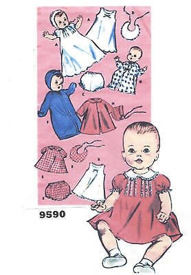 "9590 Vintage Baby Doll Pattern - Size 7.5-8"" - Year 1948"